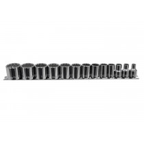 "13 Piece 3/8"" Drive 12 Point Shallow SAE Socket Set"