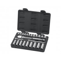 "24 Piece 3/8"" Drive Metric 6 and 12 Point Socket Set"