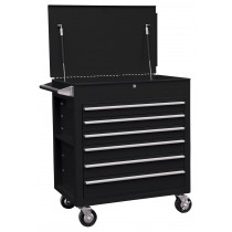 6 Drawer Full Drawer Professional Cart - Black