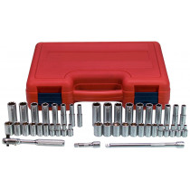 44-Piece 1/4 in. Drive 6-Point Fractional SAE and Metric Standard and Deep Socket Set
