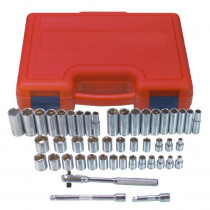 K-Tool 47-Piece 3/8 in. Drive Fractional SAE/Metric 6-Point Socket Set in Blow Mold Case
