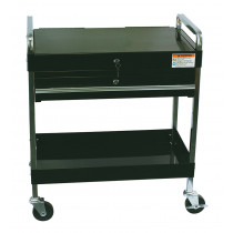 Service Cart With Locking Top and Drawer - Black