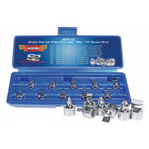 "10 Piece 1/4"" Square Drive Stubby Flat and Phillips Drive Set"
