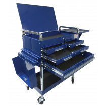 Sunex® Tools Deluxe Service Cart w/ Locking Top, 4-Drawers and Extension Storage, Blue