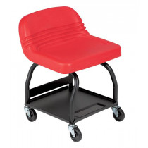 Large Padded Mechanic's Creeper Seat w/ Tool Tray, Red
