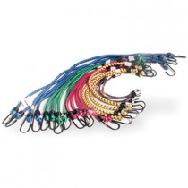 "Bungee Cord Assortment, 20 Piece, 4 each of 10"", 18"", 20"", 24"", 30"", with Plastic Coated Hooks"