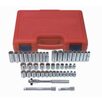 47-Piece 3/8 in. Drive 12-Point Fractional SAE and Metric Socket Set