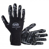 SAS Safety 1-Pair of Paws Nitrile Coated Palm Gloves, Size L