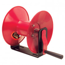 Manual Air Hose Reel Only, Hand Crank, Red Metal Open Construction, Will Accommodate 50 ft. of Air Hose