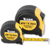 Titan® Tape Measure Set, 2-Piece, Dual-Rule Standard And Metric Scales, Includes 16 Ft. And 25 Ft. Tapes