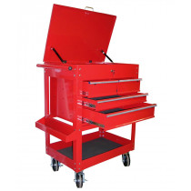 Heavy Duty 4-Drawer Tool Cart, Red