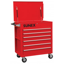 Professional Tool Cart, 6 Full-Drawers, Red