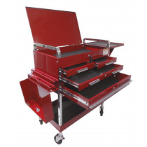 Sunex® Tools Deluxe Service Cart w/ Locking Top, 4-Drawers and Extension Storage, Red